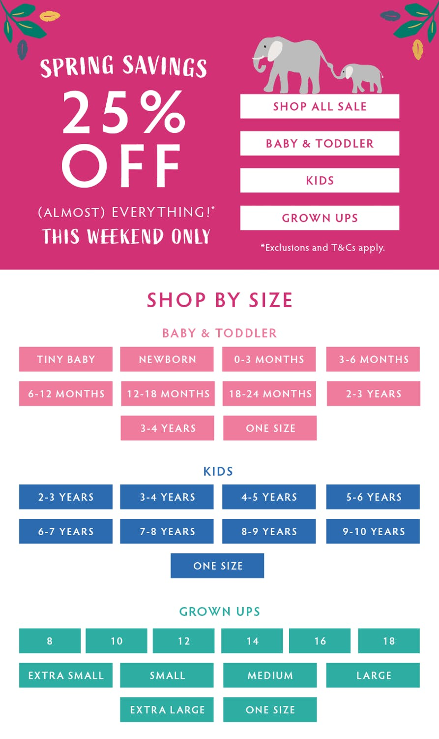 Spring Savings! 25% off (almost) everything this weekend only! Shop now