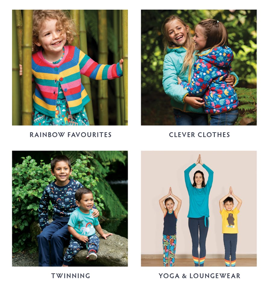 Rainbow Favourites, Clever Clothes, Twinning and Yoga & Loungewear - Shop all our Collections now