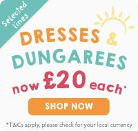 Dresses & Dungarees now £20 each! Selected lines only.