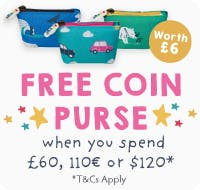 FREE coin purse when you spend £60, 110€ or $120