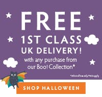 Free 1st Class UK delivery with any purchase from our new BOO! collection. Shop Halloween now