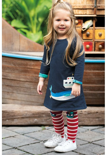 Buy Peek A Boo Dress: 100% Organic Cotton Interlock | Frugi