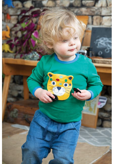 Buy Button Off Applique Top: Organic Cotton Interlock | Frugi